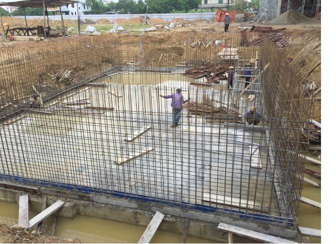 Hình ảnh thi công bể nước cho toàn dự án (khu vực giữa sân chung)