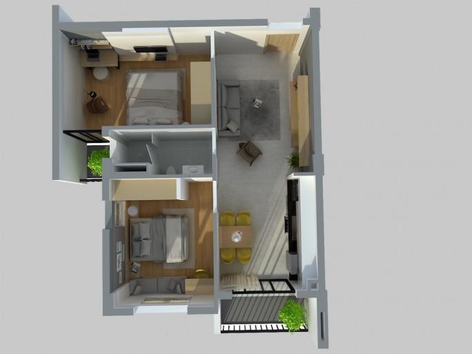 Thiết kế tổng thể căn hộ mẫu 2